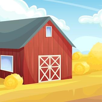Ретро красный американский амбар в сельскохозяйственном поле. земледелие, урожай. натуральное хозяйство.