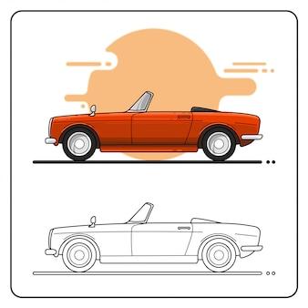 レトロな赤い車の側面図簡単に編集可能