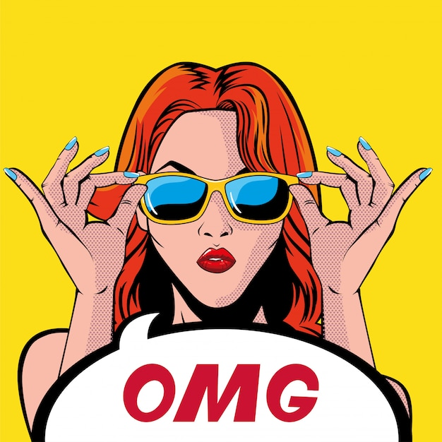 Retro red hair woman cartoon with omg bubble vector