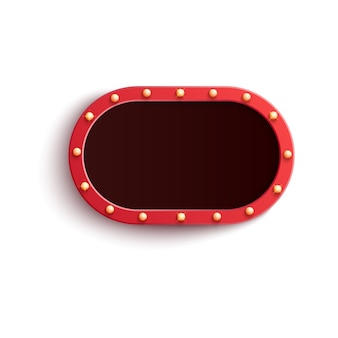 Retro red oval blank frame with shining light bulbs in realistic style.