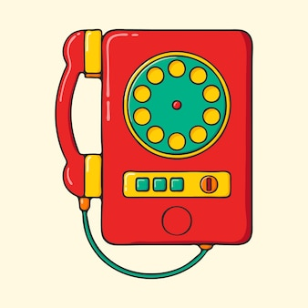 Retro red pay phone hand drawn pop art style illustration.