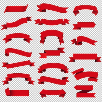 Retro red web ribbon set isolated transparent