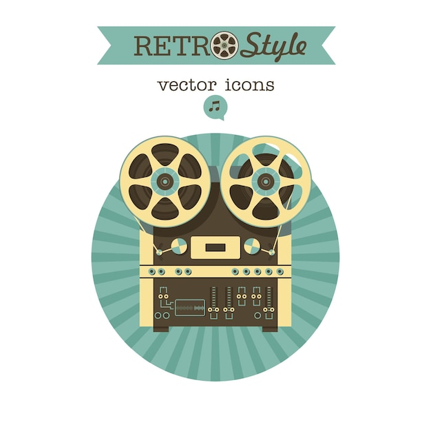 레트로 릴 테이프 레코더입니다. 벡터 아이콘 로고입니다.