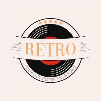 Retro restaurant logo design with vinyl