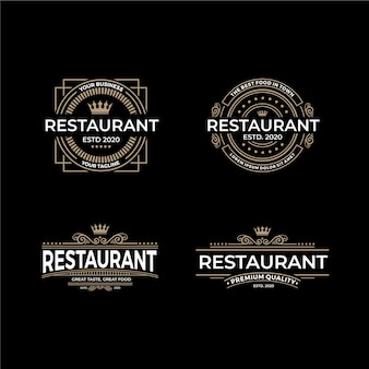 Retro restaurant logo template collection