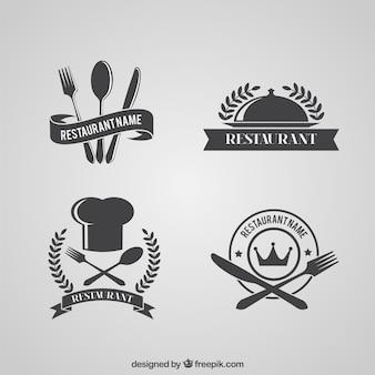 Ретро ресторан логотипы пакет