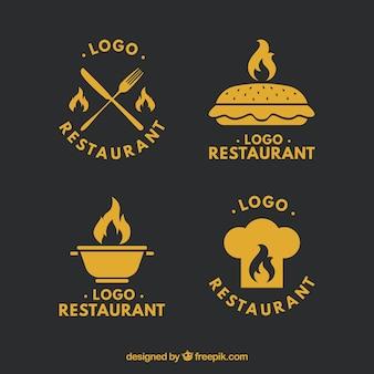 レトロレストランのロゴセット