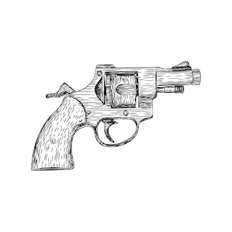 A retro revolver gun illustration