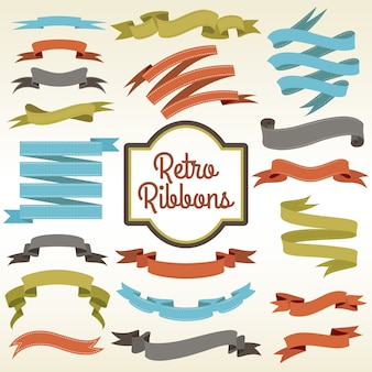 Retro ribbons cuttings composition poster