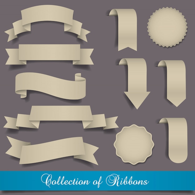 Retro ribbons and labels set collection