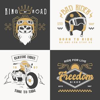 Retro rider badges logos collection