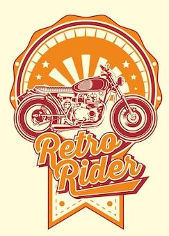 Retro rider with motorbikes vintage