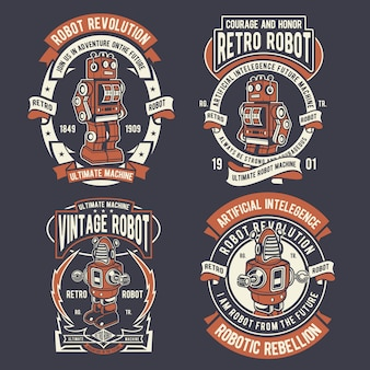 Retro robot badge