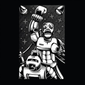 Retro robot fighting black and white illustration