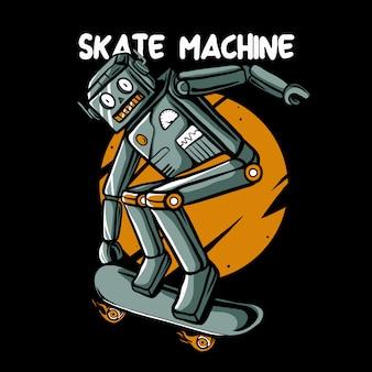 Retro robot skateboarding  illustration