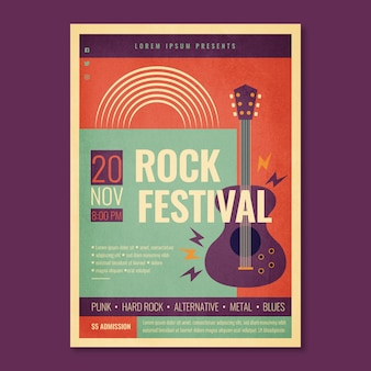Retro rock festival poster template with electric guitar