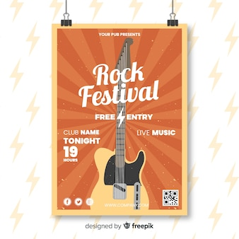 Retro rock festival poster template
