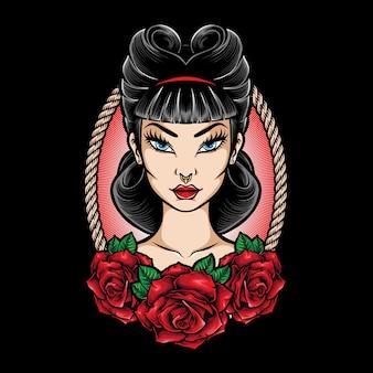 Retro rockabilly girl illustration