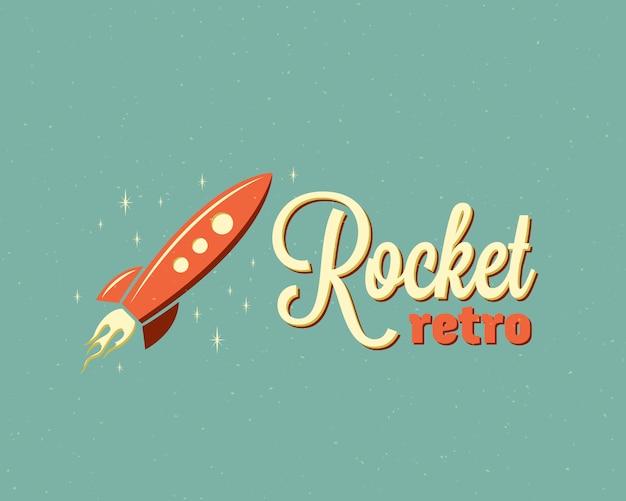 レトロなロケットのエンブレムやロゴのテンプレート。星と空の漫画宇宙船。背景にヴィンテージタイポグラフィ