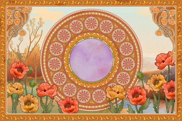 Retro and romantic background with mosaic art, poppy flower and floral frame elements