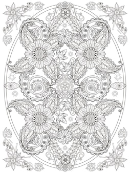 Retro and romantic floral coloring page in exquisite line