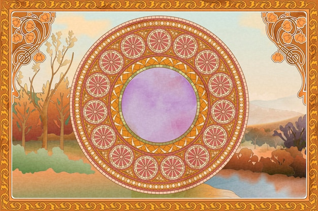 Retro and romantic frame and background with mosaic art on nature scenery