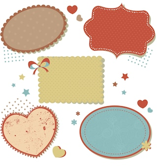 Retro romantic love stickers and tags