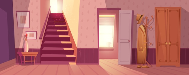 Retro room interior vector illustration