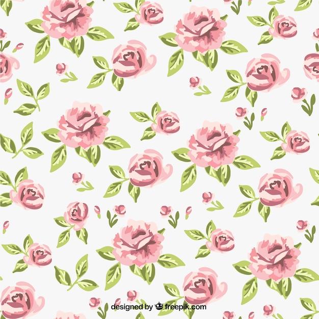 Retro roses pattern Premium Vector
