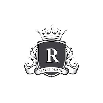 レトロロイヤルシールドロゴタイプデザインテンプレート