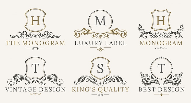 Retro royal vintage shields logotype set. luxury logo design template