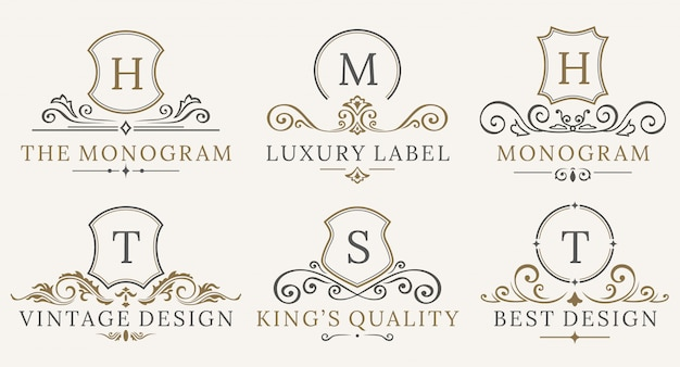 Retro royal vintage shields logotype set