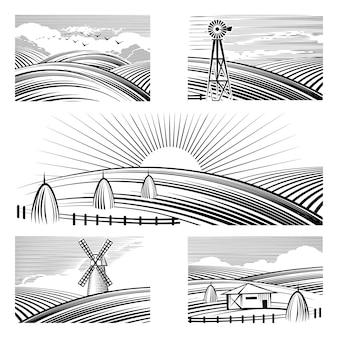Ретро сельские пейзажи. набор в сельских пейзажах окрашены черными линиями.
