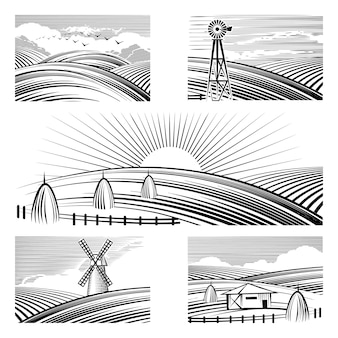 Retro rural landscapes. set in rural landscapes painted black lines.