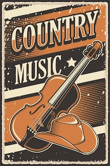 Retro rustic country music poster