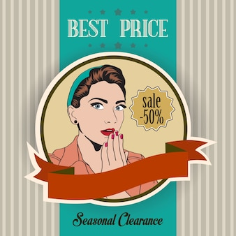 Retro sale banner with woman
