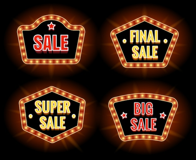 Retro sale lightbulb signs