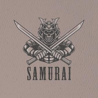로고 캐릭터와 티셔츠 디자인을위한 레트로 사무라이 그림