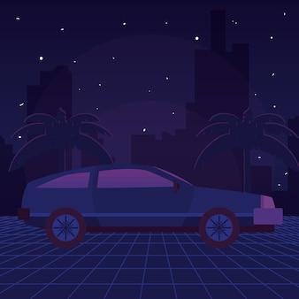 Retro sci fi background scenery