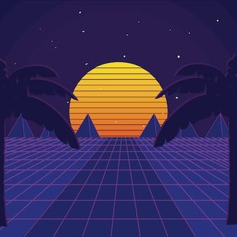 Ретро-фантастический пейзаж Premium векторы