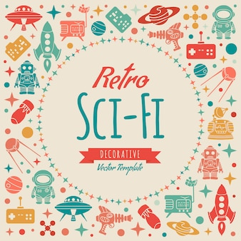 Retro sci-fi decorating design