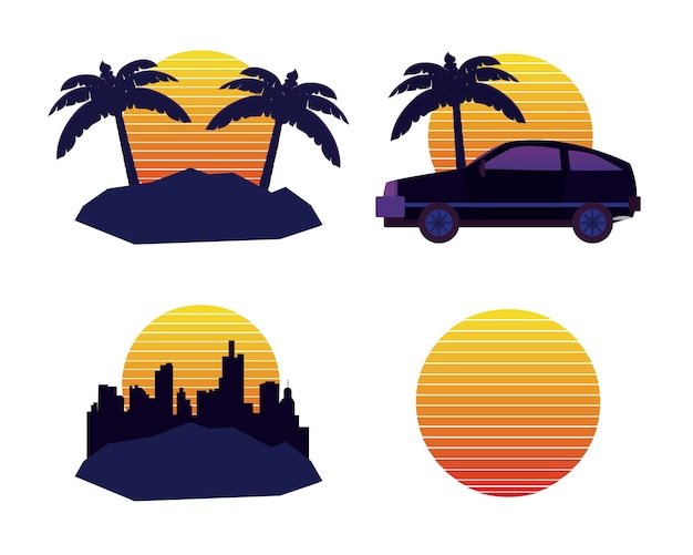 Retro sci fi icons