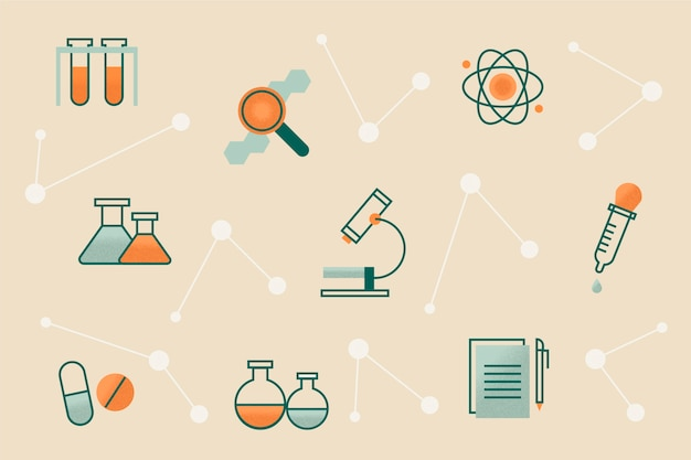 Retro science education background