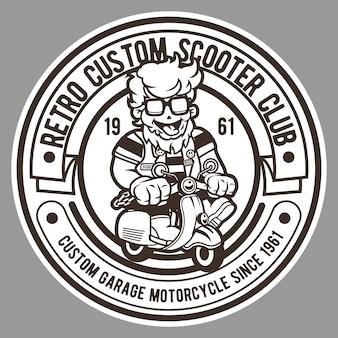 Retro scooter club badge logo
