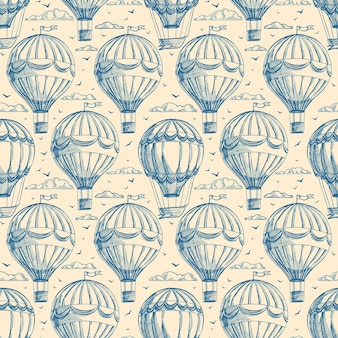 Retro seamless background with balloons cloudy sky