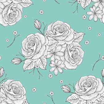 青い背景の上のレトロなシームレスな手描きのバラのパターン
