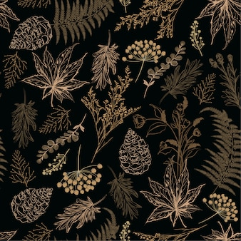 레트로 원활한 패턴 숲이 식물 벡터