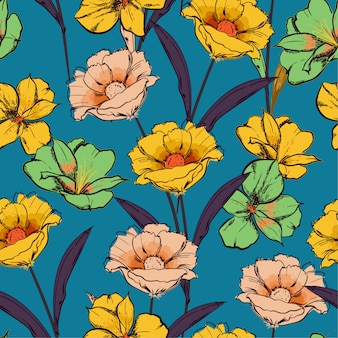 Retro seamless pattern hand drawn sketch blooming flowers