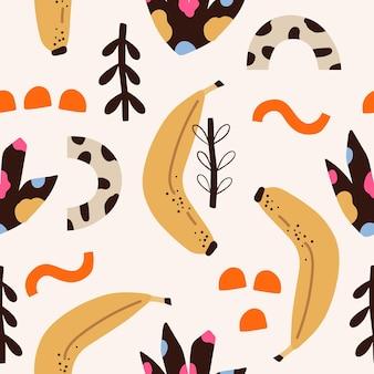 形とバナナと70年代スタイルのレトロなシームレスパターン