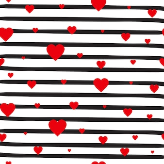 Retro seamless pattern red hearts on striped white background valentine day ornament